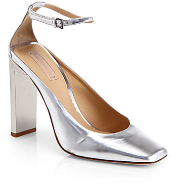 Reed Krakoff Atlas Metallic Leather Ankle-Strap Pumps