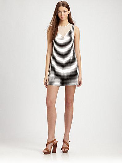 Aiko Odiele Striped Mesh-Trim Dress