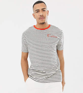 Asos Design DESIGN Tall relaxed stripe t-shirt in towelling with c'est la vie embroidery
