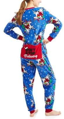 Secret Treasures Women's and Women's Plus Santa Dropseat Pajama Union Suit One Piece Sleepwear (S-3X)