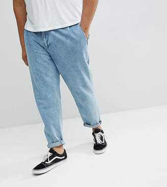 Asos PLUS Double Pleated Jeans In Mid Wash Blue