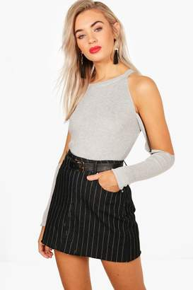 boohoo Kitty Cold Shoulder Knitted Rib Top
