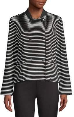 Isaac Mizrahi Imnyc Striped Double-Breasted Jacket