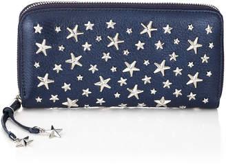 Jimmy Choo FILIPA Navy Pearlised Deerskin Wallet with Crystal Stars