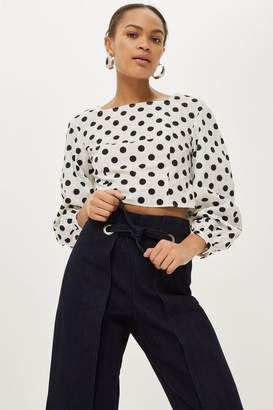 Topshop TALL Indigo Cropped Wide Leg Jeans