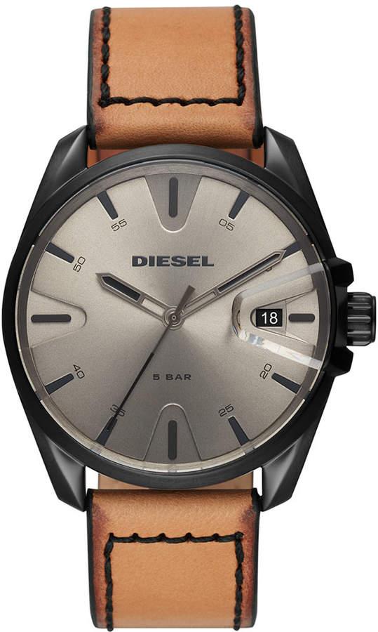 Diesel Men's MS9 Brown Leather Strap Watch 44mm
