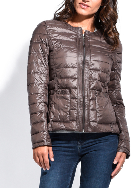 Chocolate Brown Down Moncler Zip-Front Puffer Jacket