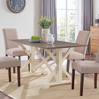 Southern Enterprises Clampo Farmhouse Dining Table, Ivory