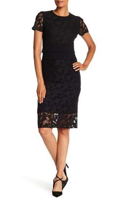 BOSS Denela Short Sleeve Lace Shirred Dress