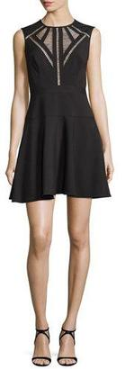 BCBGMAXAZRIA Aynn Pointelle-Inset Cocktail Dress, Black $338 thestylecure.com