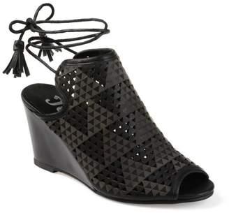 PeepToe Brinley Co. Womens Faux Leather Laser-cut Peep-toe Ankle Wrap Wedges