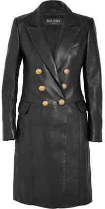 Balmain - Double-breasted Leather Coat - Black $5,870 thestylecure.com
