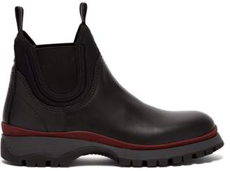 Prada Chelsea Trek Sole Leather Boots - Womens - Black Burgundy