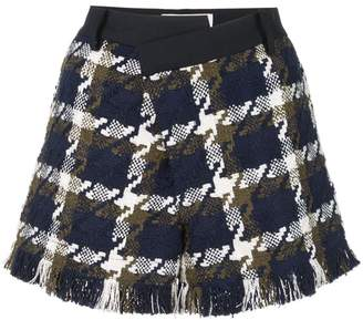 Monse checked asymmetric waist shorts