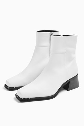Topshop MYSTIC Leather White Square Toe Boots