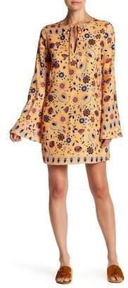 ENGLISH FACTORY Sunrose Print Bell Sleevess Tunic Dress