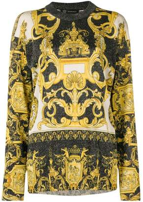 Versace Baroque print glittered jumper