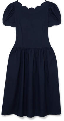 Comme des Garcons Scalloped Wool And Silk-blend Midi Dress - Navy