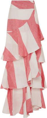 Johanna Ortiz Tabasco Linen Striped Skirt
