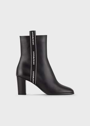 Emporio Armani Leather Heeled Booties With Logo Strap