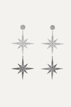 Sydney Evan Large Starburst 14-karat White Gold Diamond Earrings