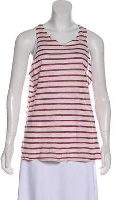 Frame Linen Striped Sleeveless T-shirt