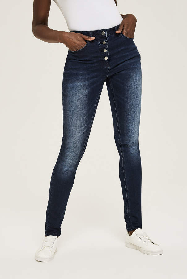 Long Tall Sally Button Skinny Jean