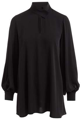 f5cc9f17aa59c1 WtR Nijinska Black Long Sleeve Silk Tunic Blouse
