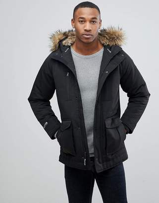 Hollister Padded Parka With Faux Fur Hood in Black