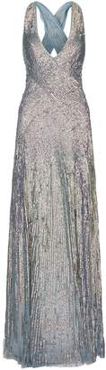 Jenny Packham Fontaine Sequin Cross Strap Gown