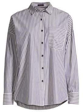 ATM Anthony Thomas Melillo Women's Railroad Stripe Boyfriend Shirt - Navy White - Size Medium