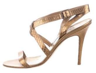 Manolo Blahnik Metallic Embossed Sandals