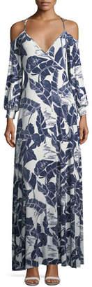 Rachel Pally Dominic Open-Shoulder Palm-Print Dress
