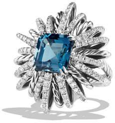 David Yurman 30mm Diamond & Blue Topaz Starburst Ring