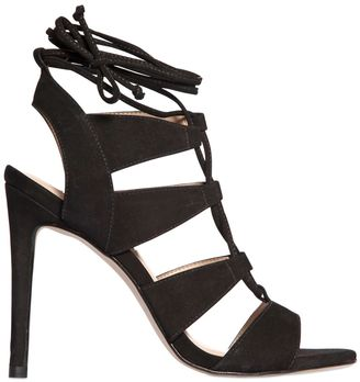 110mm Cage Nubuck Suede Sandals $192 thestylecure.com
