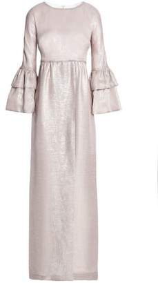 Merchant Archive Lamé-Trimmed Ruffled Silk-Blend Gown