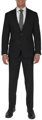 Kenneth Cole Reaction Techni-Cole Black Solid Two Button Notch Lapel Slim Fit Suit
