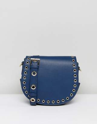 Marc B Across Body Satchel With Rivit Detailing