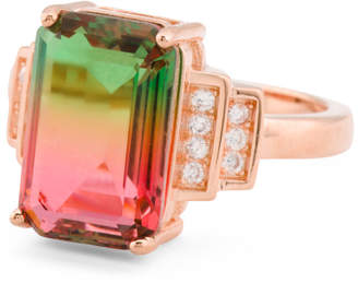 Rose Gold Plated 925 Silver Watermelon Tourmaline Cz Ring