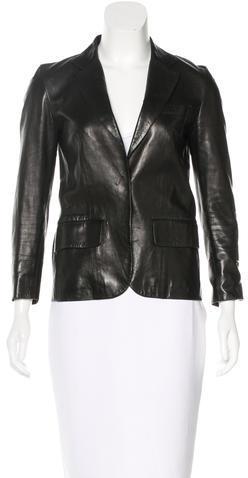 GucciGucci Leather Notched Lapel Blazer