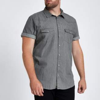 River Island Big and Tall grey denim shirt