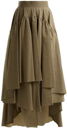 Brunello Cucinelli Layered cotton-blend midi skirt