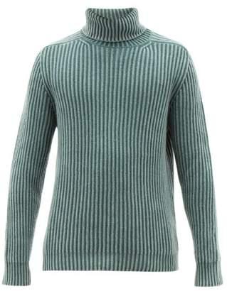 Iris von Arnim Pete Roll Neck Ribbed Cashmere Sweater - Mens - Light Green