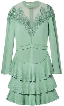 Elie Saab Appliquéd Tulle-Paneled Stretch-Knit Mini Dress