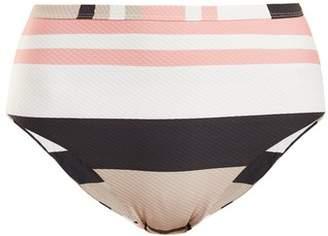 Asceno - High Rise Striped Bikini Briefs - Womens - Cream Stripe