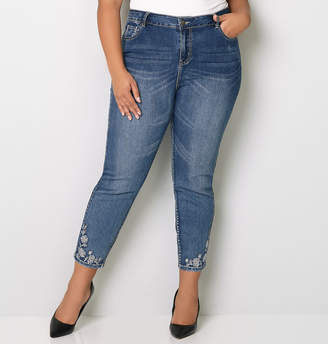 Avenue Stone Floral Embroidered Crop Jean 28-32