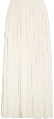 Elizabeth and James - Quinn Pleated Crepe De Chine Midi Skirt - Ivory $265 thestylecure.com