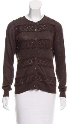 Tory Burch Button-Up Eyelet Cardigan