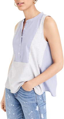 J.Crew Mixed Media Henley Cotton Jersey Tank Top