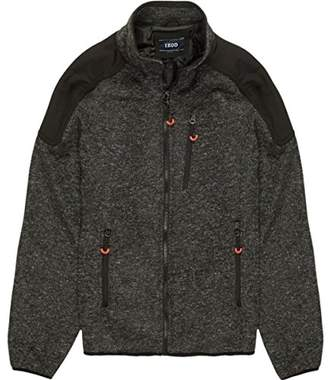 Izod Men's Zip up Sweater Fleece Jacket With Soft Shell Patches
